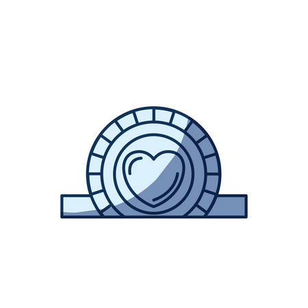 slot in: blue color silhouette shading of closeup flat coin with heart symbol inside depositing in rectangular slot vector illustration
