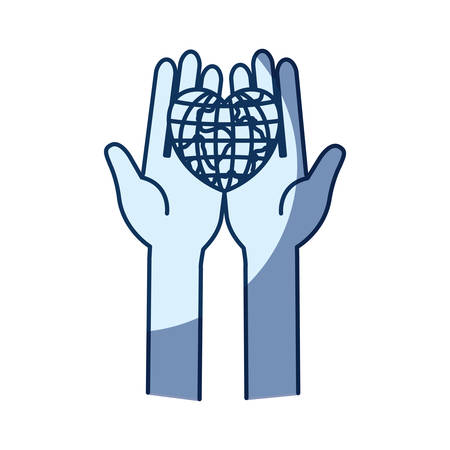 blue color silhouette shading of front view hands holding in palms a earth globe world in heart shape vector illustration
