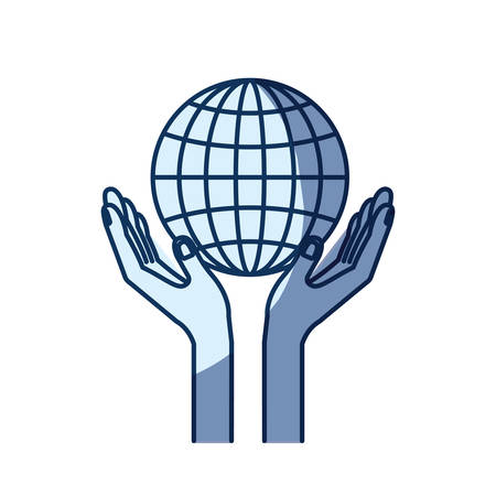 humanitarian: blue color silhouette shading of hands with floating globe chart charity global symbol vector illustration