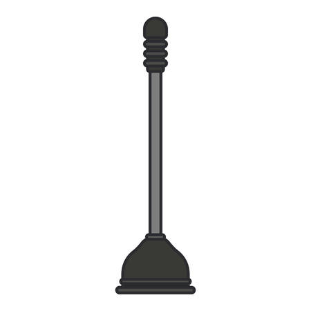 unblock: white background with color silhouette of toilet plunger icon with thin contour vector illustration