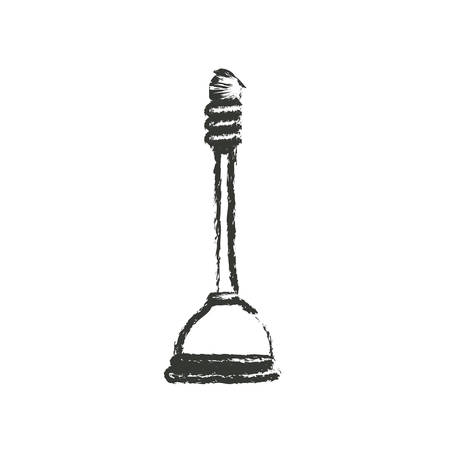 unblock: monochrome blurred silhouette of toilet plunger icon vector illustration