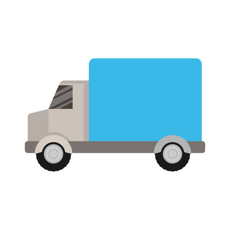 white background with color silhouette of truck with wagon vector illustration