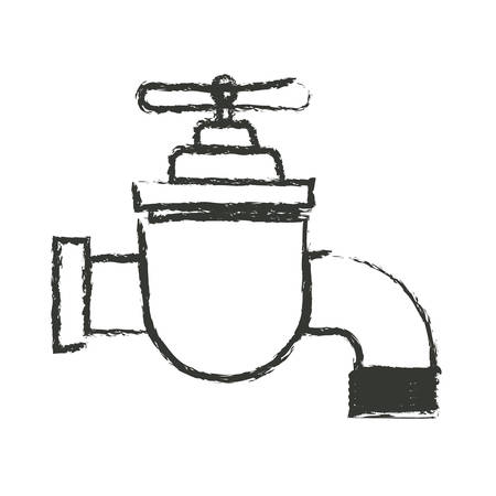 stopcock: monochrome blurred silhouette of faucet icon vector illustration