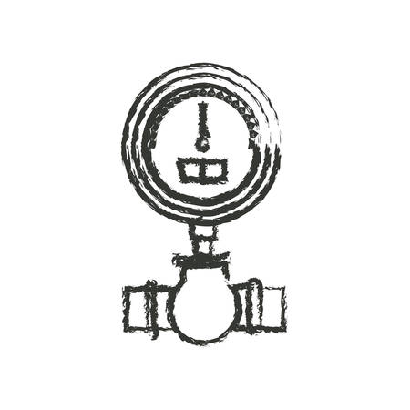 monochrome blurred silhouette of water meter vector illustration