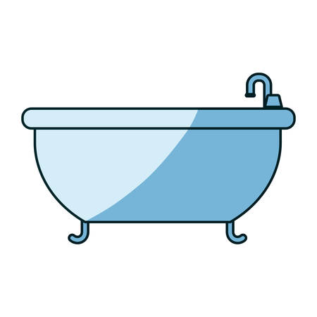 luxury apartment: blue shading silhouette of bathtub icon vector illustration