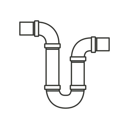 monochrome silhouette of drain pipe siphon vector illustration