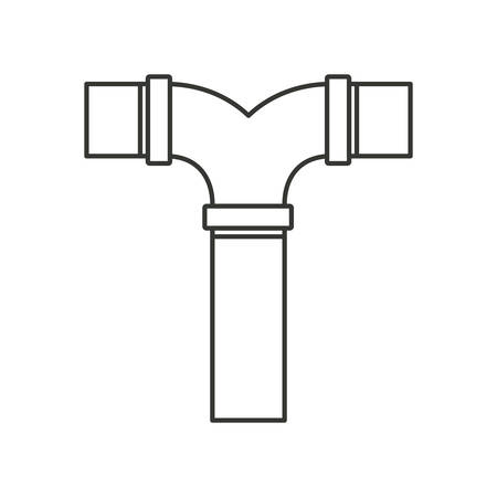tube wrench: monochrome silhouette of drain pipe t connection vector illustration