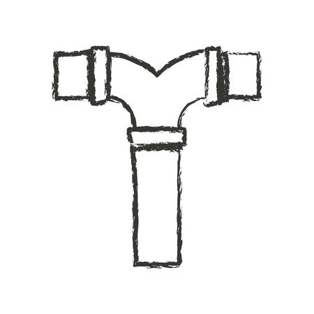 tube wrench: monochrome blurred silhouette of drain pipe t connection vector illustration