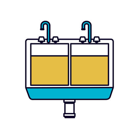 sink drain: color sections silhouette of kitchen sink vector illustration