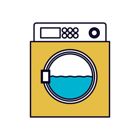rinse: color sections silhouette of wash machine vector illustration Illustration