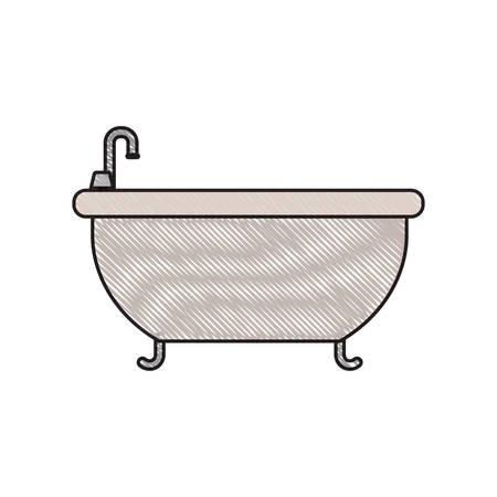 luxury apartment: colored crayon silhouette of bathtub icon vector illustration