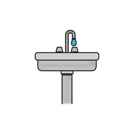 pedestal sink: colored crayon silhouette of wide washbasin with pedestal vector illustration