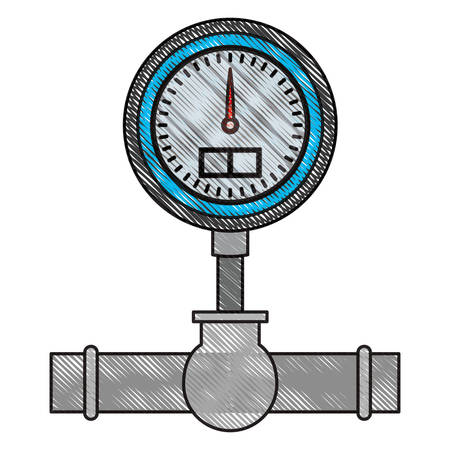colored crayon silhouette of water meter vector illustration