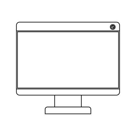 looking at computer screen: white background with monochrome silhouette of lcd monitor vector illustration
