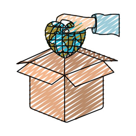 color crayon silhouette hand holding a globe earth world in heart shape to deposit in cardboard box vector illustration