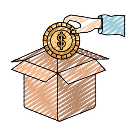 color crayon silhouette hand holding a coin with dollar symbol inside to deposit in cardboard box vector illustration Illustration