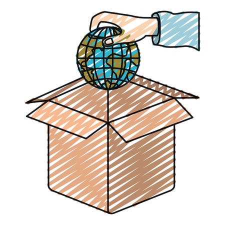 hand holding globe: color crayon silhouette hand holding a globe earth world to deposit in cardboard box vector illustration