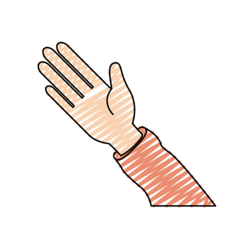 hi five: color crayon silhouette hand of symbol of greeting vector illustration