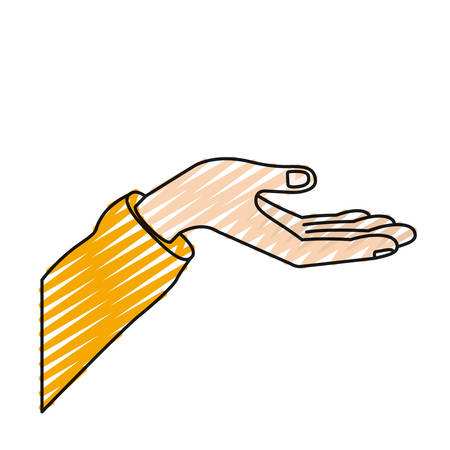 color crayon silhouette extended hand of symbol of receiving vector illustration