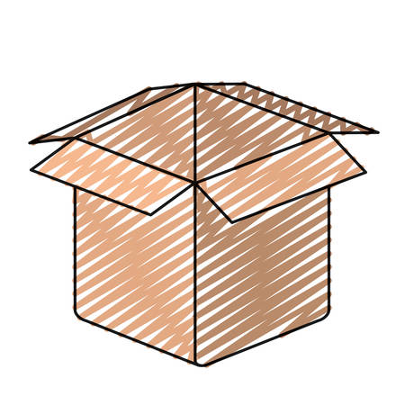 carboard box: color crayon silhouette closeup carboard box opened vector illustration