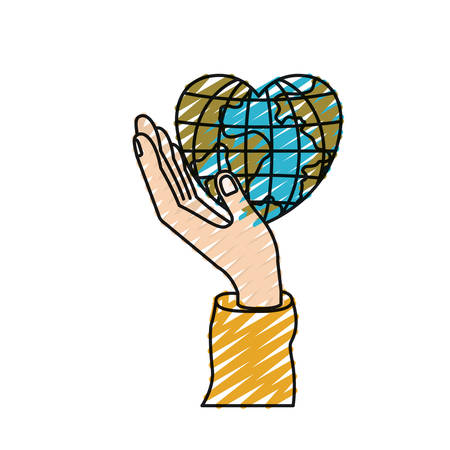color crayon silhouette hand holding in palm a earth globe world in heart shape vector illustration