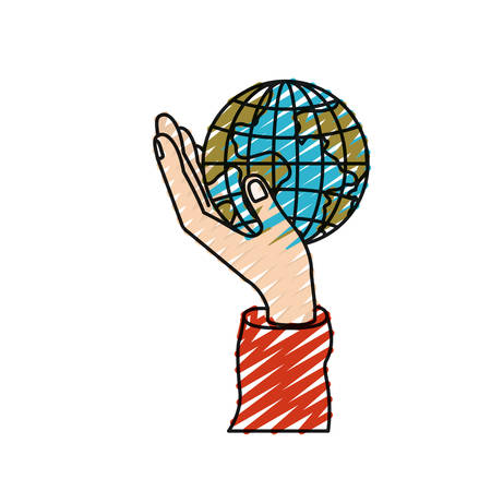 color crayon silhouette hand holding in palm a earth globe world charity symbol vector illustration