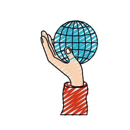 color crayon silhouette hand holding in palm a globe chart vector illustration