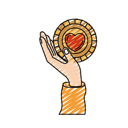 color crayon silhouette hand holding in palm a coin with heart shape inside charity symbol vector illustration Illustration