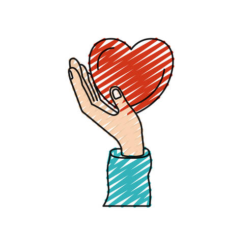 color crayon silhouette hand holding in palm a heart charity symbol vector illustration Illustration