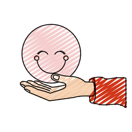 color crayon silhouette palm human holding a pink happy face symbol vector illustration