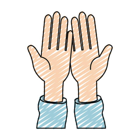 hi five: color crayon silhouette front view palm of hands in symbol receiving vector illustration