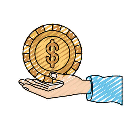 color crayon silhouette hand palm giving a coin with dollar symbol vector illustration