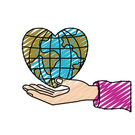 color crayon silhouette hand palm giving a earth globe world in heart shape vector illustration