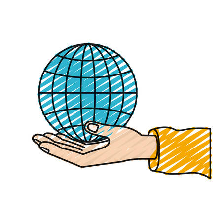 color crayon silhouette hand palm giving a globe chart charity symbol vector illustration