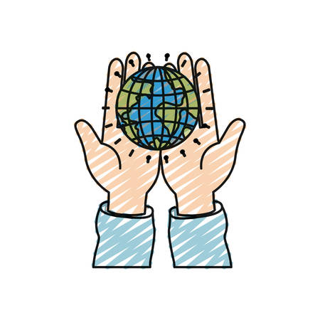 humanitarian: color crayon silhouette front view of hands holding in palms a earth globe world charity symbol vector illustration