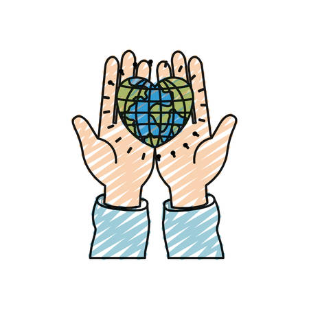 hand holding globe: color crayon silhouette front view of hands holding in palms a earth globe world in heart shape vector illustration
