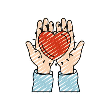 color crayon silhouette front view of hands holding in palms a heart charity symbol vector illustration Illustration