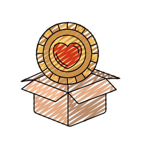 give out: color crayon silhouette coin with heart shape inside coming out of cardboard box vector illustration