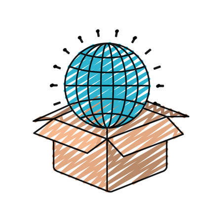 sketch out: color crayon silhouette globe earth world chart coming out of cardboard box vector illustration