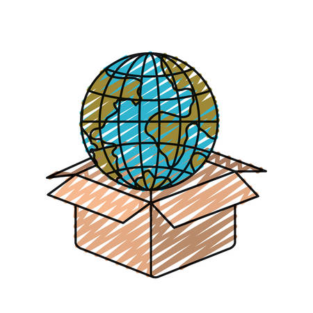 give: color crayon silhouette globe earth world coming out of cardboard box vector illustration