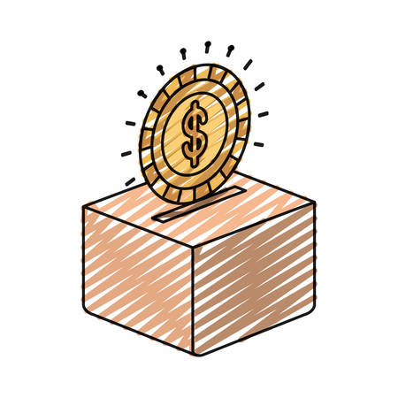 color crayon silhouette flat coin with dollar symbol depositing in a carton box vector illustration Illustration