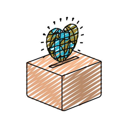 color crayon silhouette flat globe earth world in heart shape depositing in a carton box vector illustration Illustration