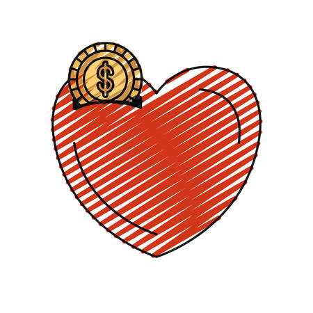 humanitarian: color crayon silhouette money box in heart shape with coin with dollar symbol vector illustration