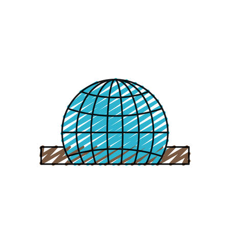 slot in: color crayon silhouette closeup flat globe earth world chart depositing in rectangular slot vector illustration
