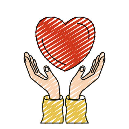 color crayon silhouette hands with floating heart charity symbol vector illustration Illustration