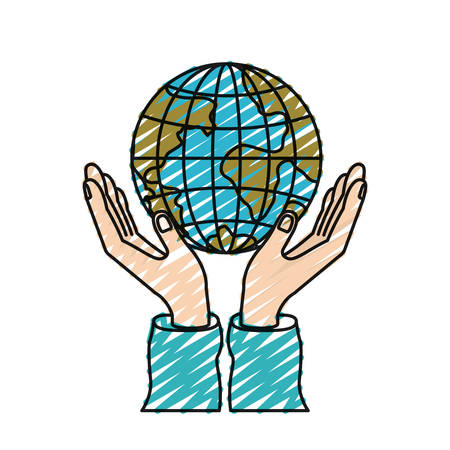 humanitarian: color crayon silhouette hands with floating earth globe world charity symbol vector illustration
