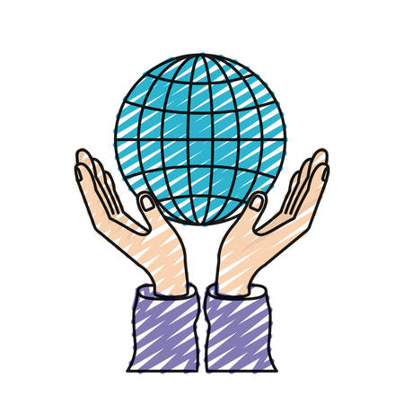color crayon silhouette hands with floating globe chart charity global symbol vector illustration