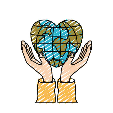color crayon silhouette hands with floating earth globe world in heart shape vector illustration Illustration
