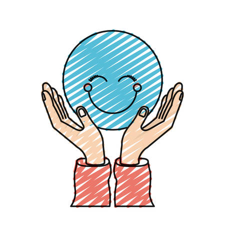 color crayon silhouette hands with floating blue happy face vector illustration