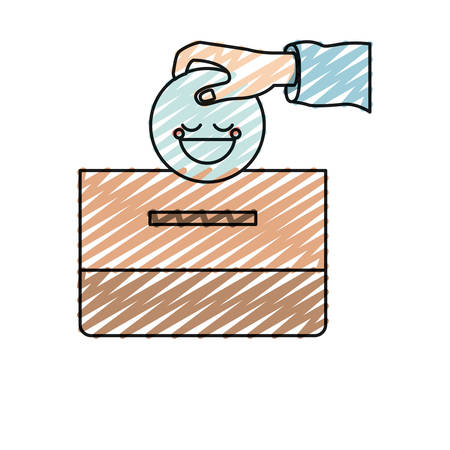 give: color crayon silhouette front view hand with flat happy face depositing in a carton box vector illustration
